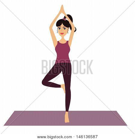 Young Girl doing yoga vector illustration. Cartoon girl practicing yoga and meditating isolated.