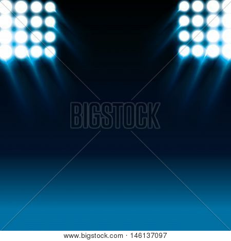 reflector white lights and blue stage background. vector illustration