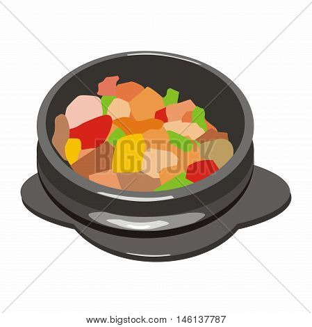 Vector vegetable mix with meat hot pot asian cuisine