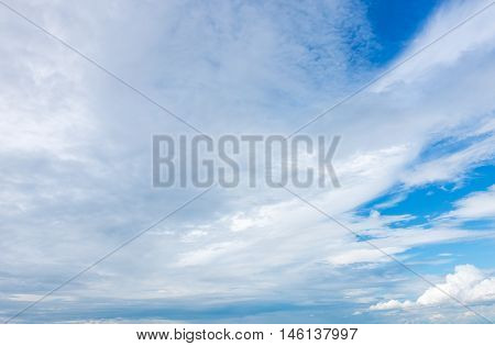 Beautiful white cloudy and blue sky in sunny day. Fantastic sky and clouds texture background sky daylight. Natural sky composition. Outdoors.