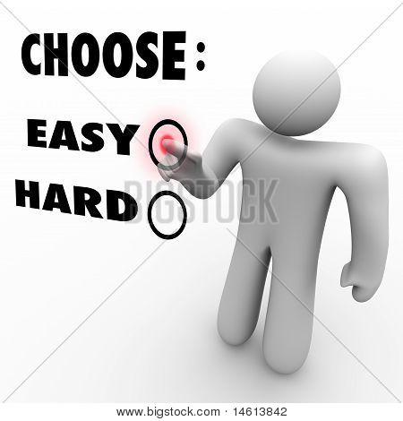 Escolha fácil ou difícil - níveis de dificuldade