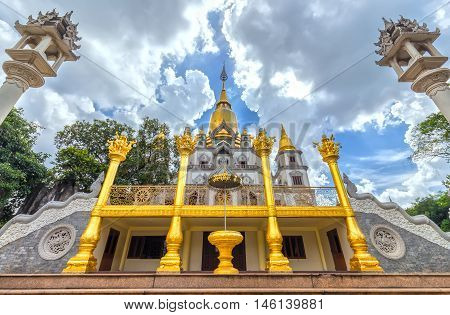 Ho Chi Minh City, Vietnam - August 23, 2016: Buu Long Buddhist temple, pagoda expressed in many cultures  Buddhism currently in Ho Chi Minh City, Vietnam