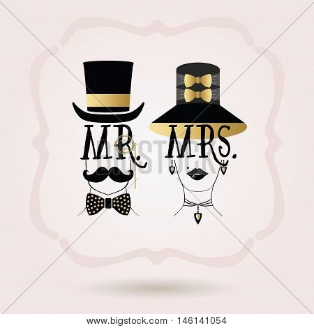 Black and golden abstract Mr. Male & Mrs. Female icons on pink gradient background