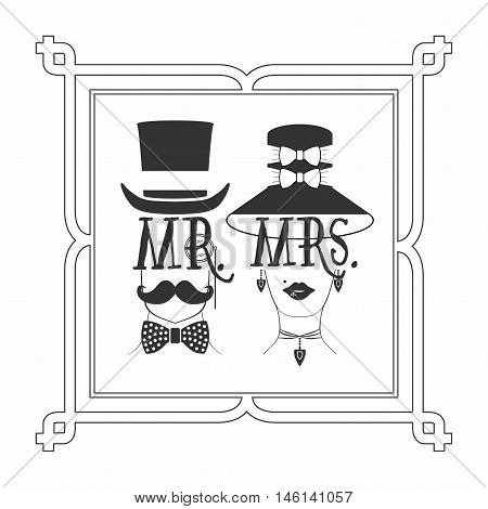 Black silhouette Mr. Male & Mrs. Female icons picture frame on white background
