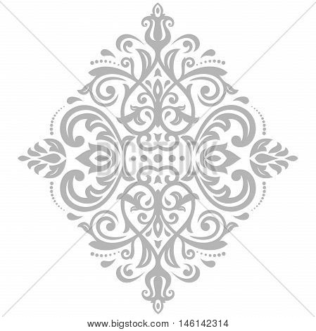 Oriental pattern with arabesques and floral elements. Traditional classic ornament. Light silver pattern