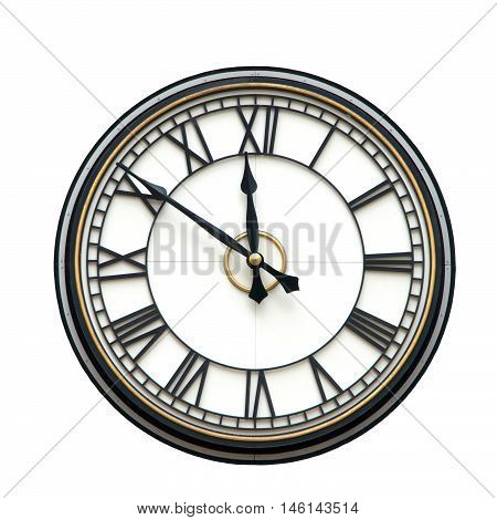 Clock with roman numerals for hours hands at nine minutes to twelve o'clock isolated on white background