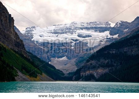 Glacier and apine lake. Banff National Park. Rocky Mountains. Alberta. Canada.