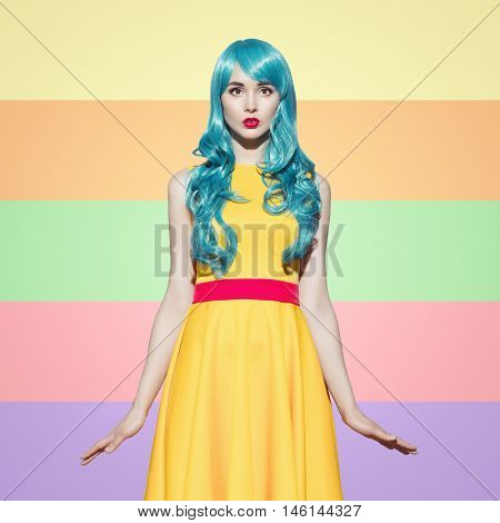 Pop art woman portrait wearing blue curly wig and bright yellow dress.  Colorful  background. Space for text.