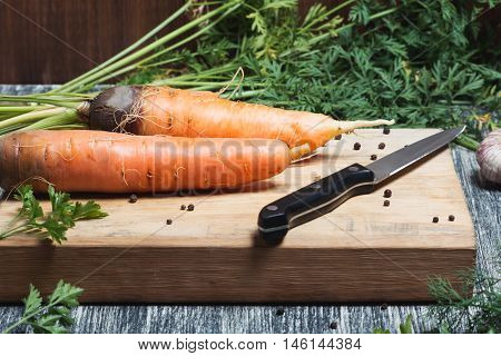 Carrots unwashed on a chopping board with knife. Fresh carrots bunch on rustic wooden background