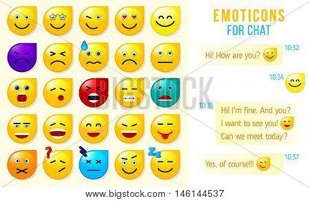Set of emoticons emoji for chat Set of emoji. vector illustration.