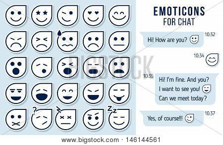 Set of outline emoticons emoji for chat Set of emoji. vector illustration.