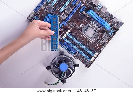 Computer Motherboard With Fan Cooler
