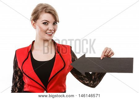 Healthy perfect female breast. Elegant girl witg black arrow sign showing her boobs unusual outfit. Satisfied woman present her body.