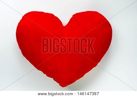shap heart red pillow on white background