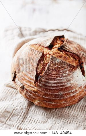 Home made sourdough bread with dried fruits