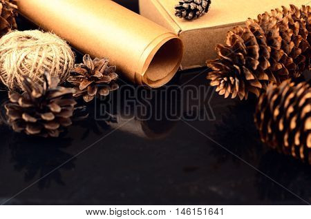 Natural Items Collection For Handcraft (paper, Pine And Spruce Cones, Jute, Cardboard Box) On Dark S