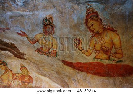 The ancient murals (Sigiriya maidens), Sri Lanka
