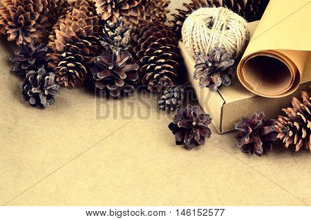 Natural Items Collection For Handcraft (paper, Pine And Spruce Cones, Jute, Cardboard Box)