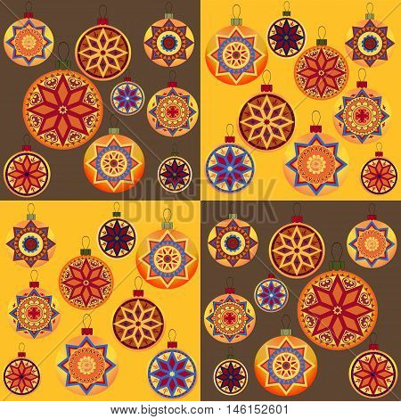 Set of vintage retro design New Year toys. Seamless pattern with Christmas balls. Perfect for packing paper, wrapping bags, greeting card and other Christmassy decoration. Vector Illustration.