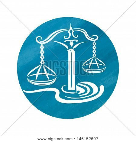 white silhouette of libra are on watercolor blue background. Vector illustration