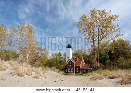Presque Isle lighthouse, built in 1872, Lake Erie, Pennsylvania, USA