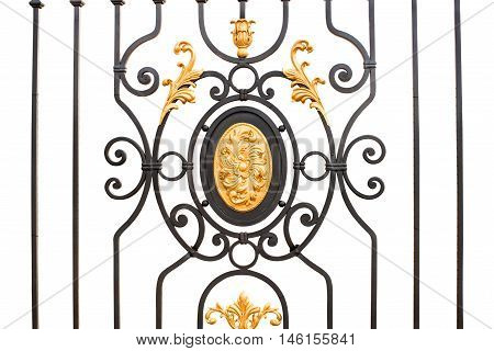 wrought-iron gates vintage, style on a white background