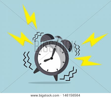 wake up time ringing alarm clock vector illustration