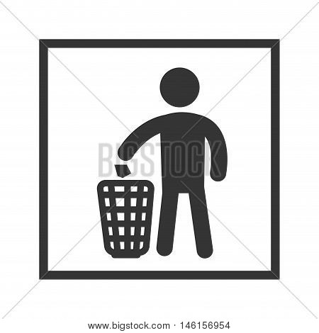 garbage recycling sign. man throwing a paper in a can.vector illustration