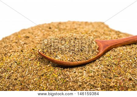 Cumin ground texture full frame background. Second most popular spice in the world after black pepper.