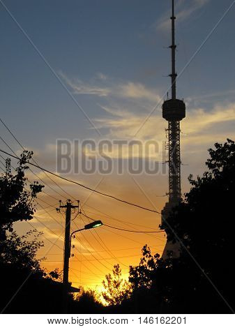 Sunset in Tashkent television tower on background