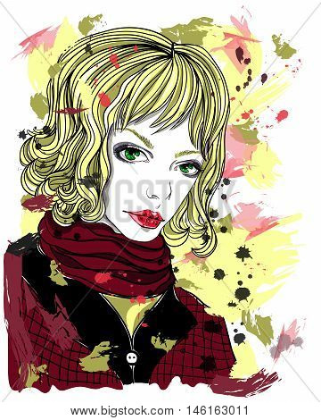 Portrait of beautiful blonde girl on abstract background. Fashion illustration. Print for T-shirt.