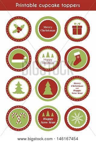 Christmas printable cupcake toppers. Vector set of round stickers, labels for christmas party