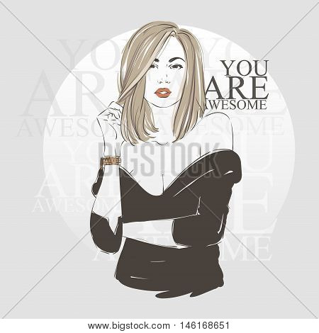 Beautiful Blonde Sexy Young Women In Black Dress With Bright Red Lips. Vector Hand Drawn Illustratio