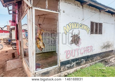 Bukoba,Tanzania- March 28, 2016: Bucher shop in Bukoba Tanzania Africa