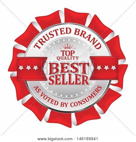 Trusted brand, as voted by consumers, best seller, top quality - shiny luxurious metallic red icon / ribbon for retailers
