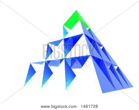Abstract Blue Pyramid With Green Top
