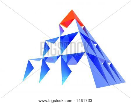 Abstract Blue Pyramid With Red Top