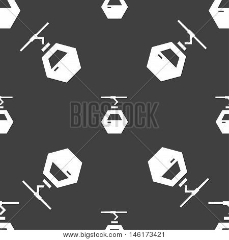 Cableway Cabin Icon Sign. Seamless Pattern On A Gray Background. Vector