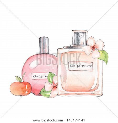 Bottle of perfume. Ink and watercolor sketch 14. Isolated on white background