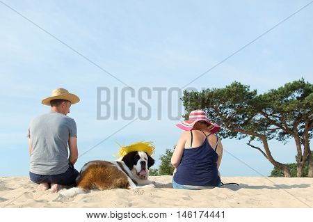 Owners With Their Dog