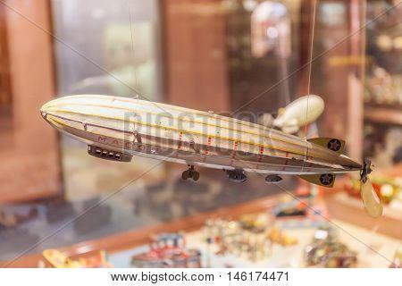 Sapporo Japan- June 4 2016. Retro airship toy show in museum of Ishiya chocolate factory.