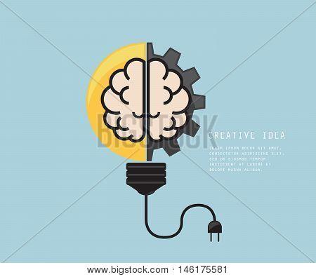 Light Bulb with Cog Gear Wheel and Brain Creative Idea Concept Vector Illustration