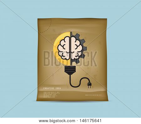 Creative Idea In Package Instant Idea in Recycle Bag with Light Bulb with Cog Gear Wheel and Brain Logo Creative Idea Concept Vector Illustration