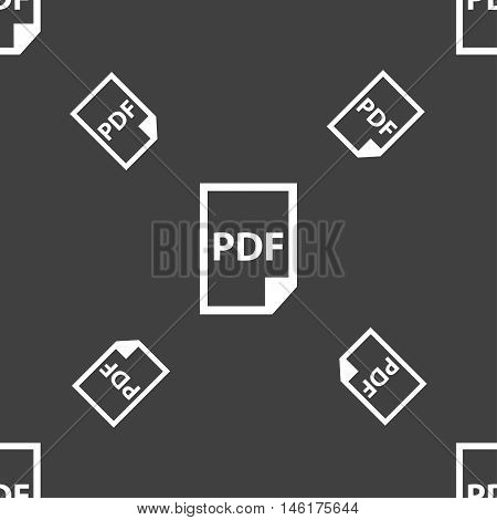 Pdf Icon. Sign. Seamless Pattern On A Gray Background. Vector