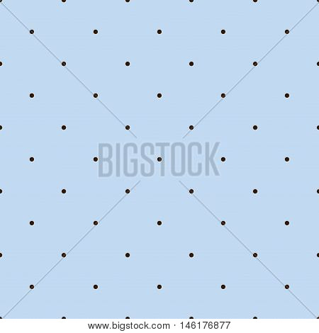 Light Blue Seamless Pattern with Brown Polka Dots. Vector illustration vintage and retro theme. Traditional texture.