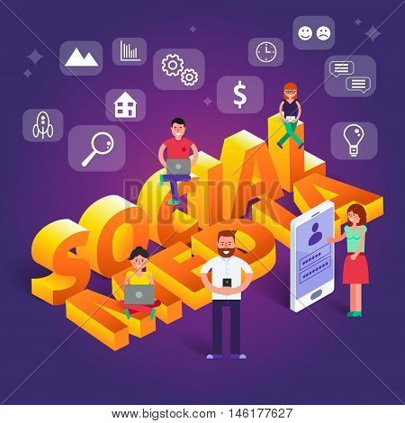 Social media vector illustration. Group of people browsing working and chating in internet via gadgets such as smartphone tablet laptop. Communication network image