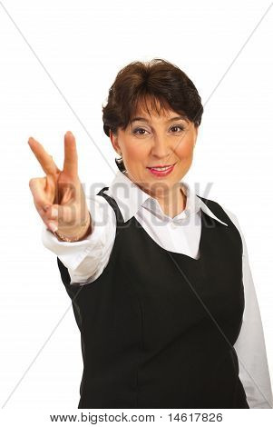 Mature Woman Show Victory Sign Hand