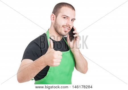 Male Supermarket Employee Showing Thumb Up Gesture