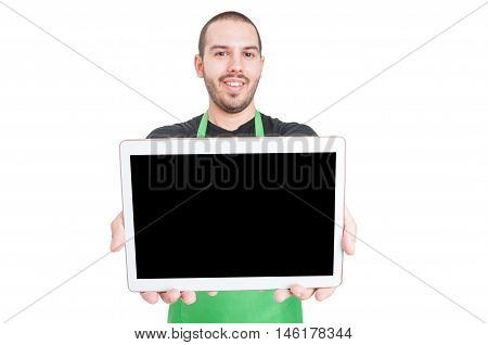 Selective Focus Of Market Employee Showing Black Screen Tablet