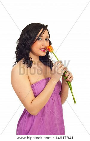 Beauty Girl Holding Single Tulip